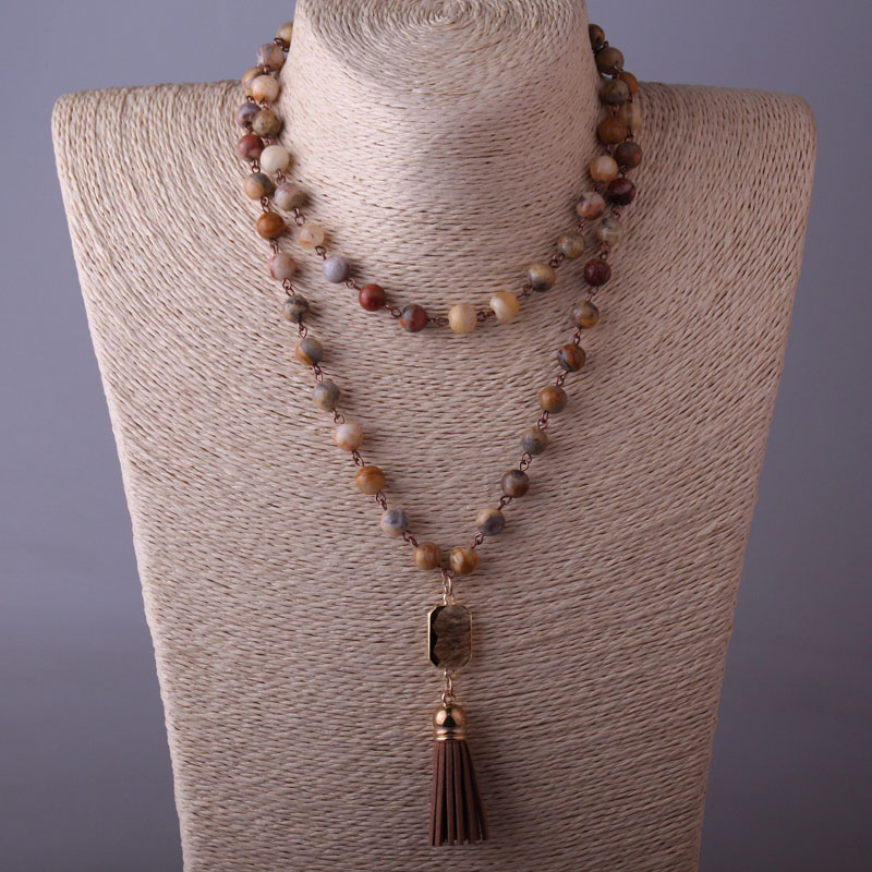 Agat Stone Tassel Necklace