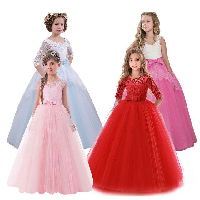2018 New Brand Flower Girls Dress Teenager Princess Wedding Party Kids  Dresses for Girls Children Clothing 10 11 12 13 14 years d30cb55db865