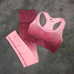 Image 2 - スポーツ女性のためのジムヨガセットフィットネス服オンブルシームレススポーツレギンス + スポーツブラ 2 ピースランニングスポーツ着用