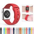 De silicona de goma correa de reloj de 38mm 42mm iwatch apple watch band pulsera correa para la muñeca con adaptador de conector de enlace de múltiples colores