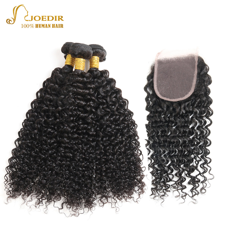 JOEDIR Pre-Colored Malaysian Afro Kinky Curly Hair Weave Bundles With Closure 4*4 Human Hair With Closure Hair Extension