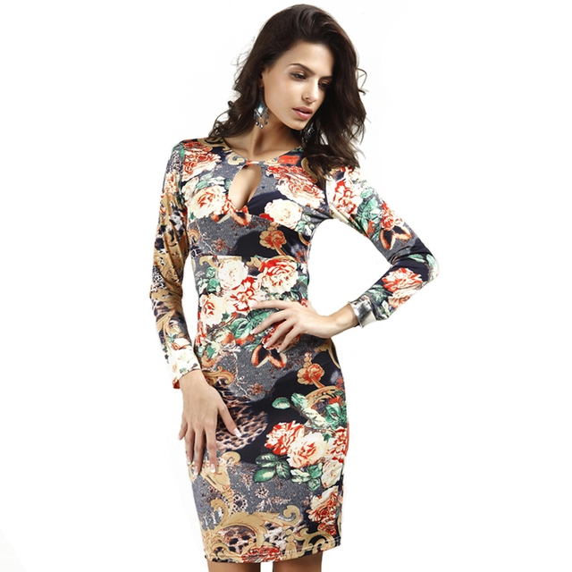 69dc7345420 New 2017 Summer Sexy Floral Print Bodycon Bandage Dress Open Bust Long  Sleeve Dress Women Short Party Dresses vestido curto 8987