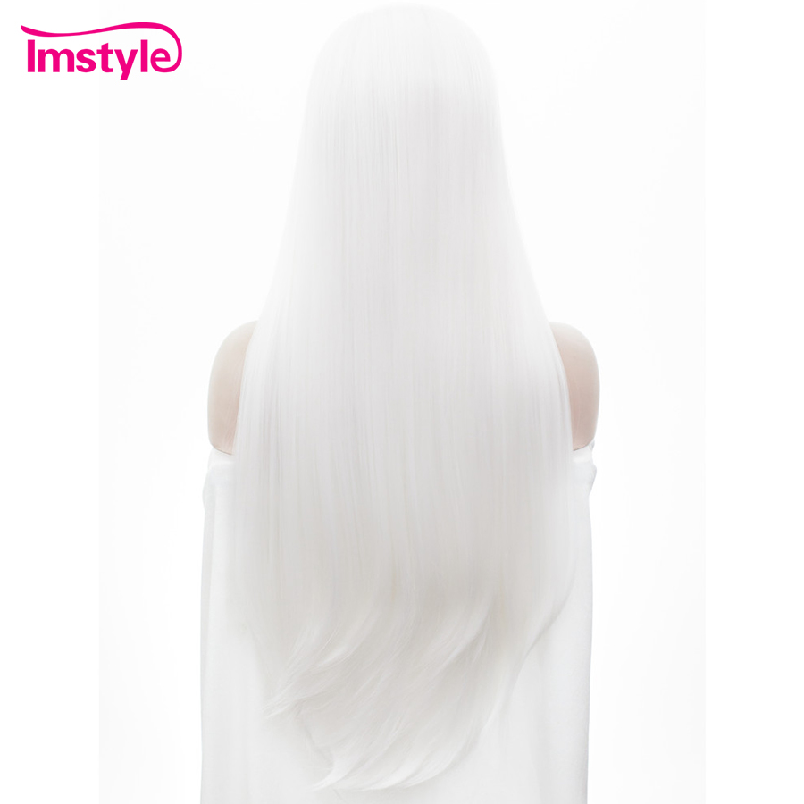 Imstyle Straight Synthetic Pure White 30 tum snör åt - Syntetiskt hår - Foto 3