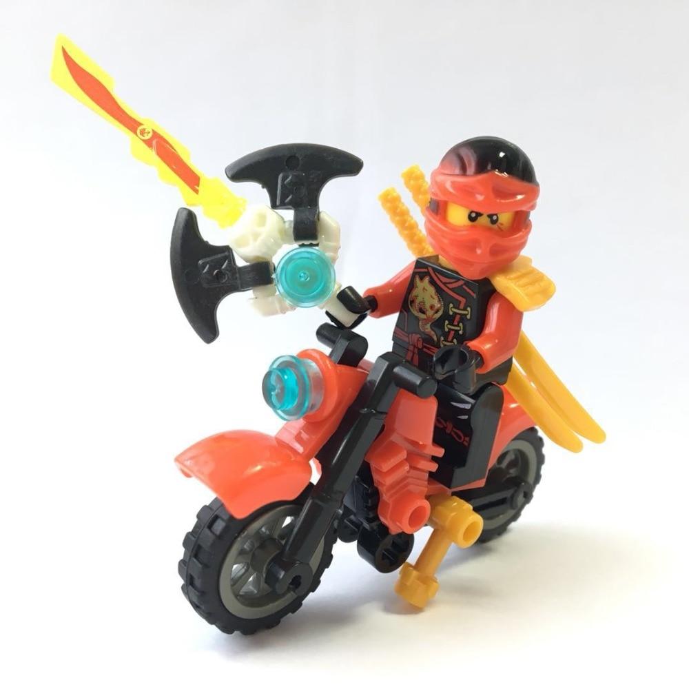 Single Sale Toy Ninja Motorcycle Block Brick Kai Jay Zane Nya Lloyd Weapon Action Compatible with legosing Ninjagoing W0166