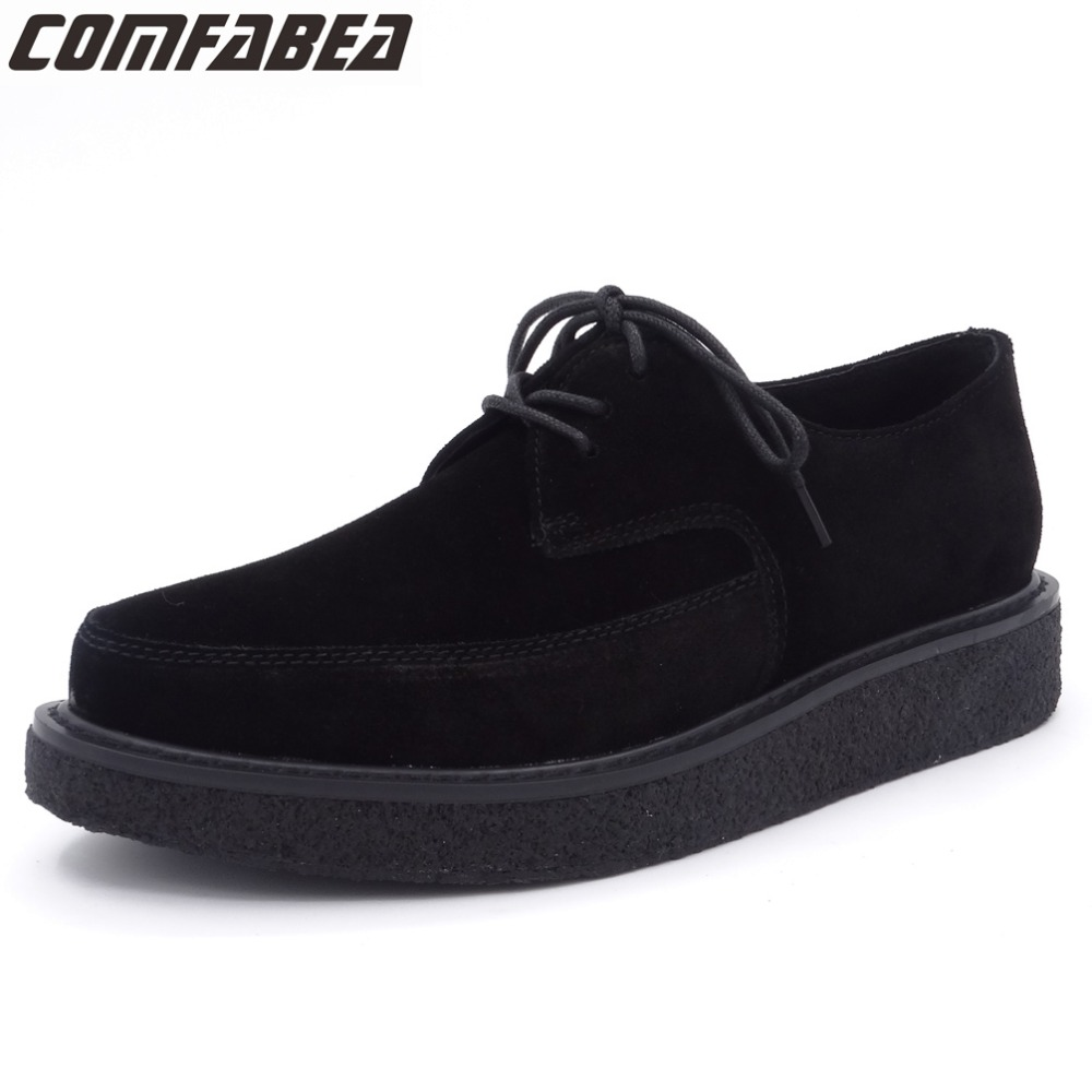 COMFABEA Autumn Shoes 2019 New Women Cow   Suede   Shoes Genuine   Leather   Flats Spring Autumn Creepers Women Casual Black Shoe