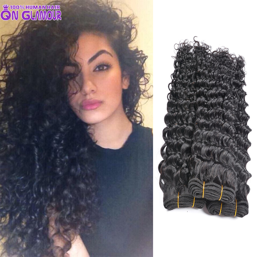 7a Unprocessed Virgin Hair Indian Deep Curly Weave 4 Bundles, Maxglam Human  Hair Best Quality