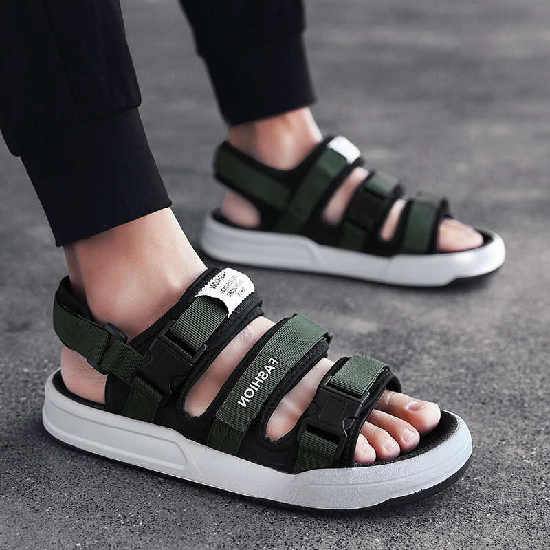 BVNOBET サンダルストリートスタイル新男性の夏の靴プラスサイズのメンズ黒品質ビーチサンダル男性 Sandales オムドロップシッピング