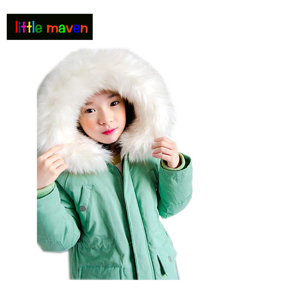 Girls Parkas Hooded Cotton-padded Girls Winter Coat 2017 Brand Kids Thicking Winter Jacket Children Outerwear Clothing 4-12 Yrs children clothing panda cartoon outwear boys girls winter wear thickening outerwear coat cotton padded childr children outerwear