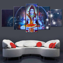 Canvas Poster Modular HD Prints Wall Art 5 Pcs Indian Religious Buddha Portrait Shiva Lord Painting Home Decor Pictures No Frame
