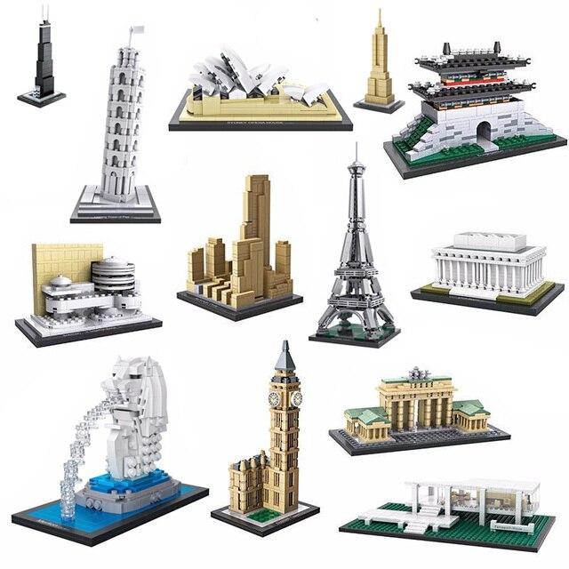 Всемирно известный архитектурный кирпич Merlion big ben Guggenheim музейная Эйфелева башня Сиднея опера Белый дом мини-блок коллекция игрушек