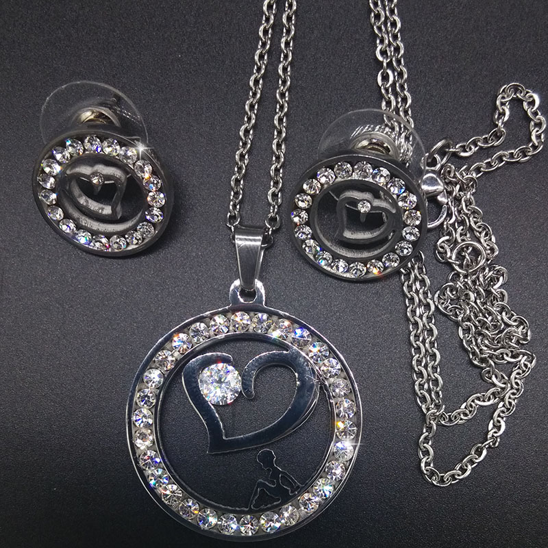 Heart Stainless Steel Jewelry Sets Silver Rose Gold Plated Crystal Rhinestone Pendants Necklace Earrings Set  Womens FS601203