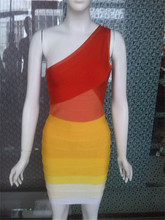 Free shipping mix color sexy one shoulder bandage dress for the formal DM776