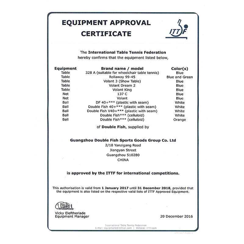Equipment Approval Certificate (ITTF)2018900