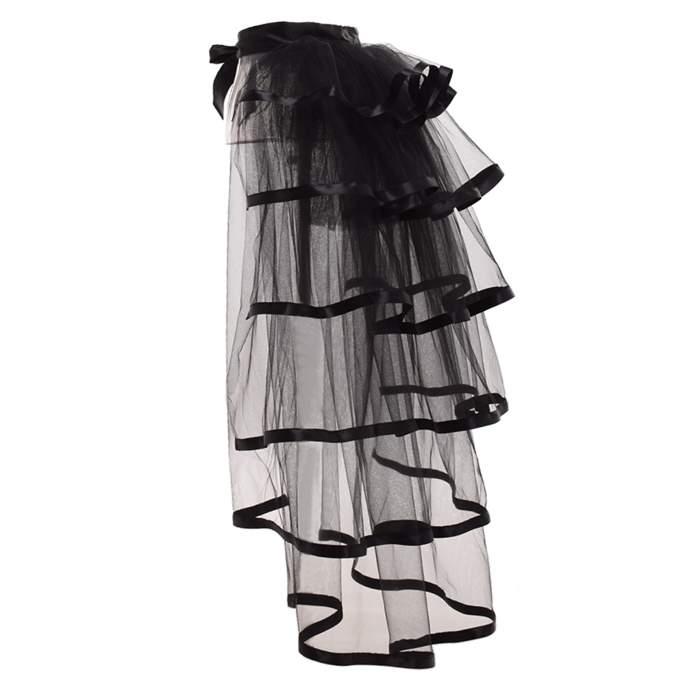 Party Tutu Tail Tulle Bustle Skirt Burlesque Steampunk Black Mesh Tiered Ruffle Over-skirt