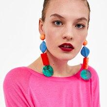 Dvacaman Big Size Colorful Resin Pendientes Earrings Women Long Drop Dangle Earrings Party Statement Jewelry Accessory Gift YY94