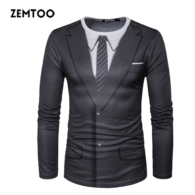 67d3b6e5a90e22 Zemtoo męska koszulki z krótkim rękawem marki Tuxedo Tees Homme Retro krawat  Slim Fit koszulki mężczyźni