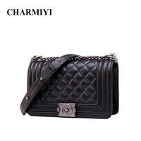 PASTE Women Genuine Leather Messenger Bags Luxury Famous Brand Designer Casual Diamond Lattice Chain Women Crossbody