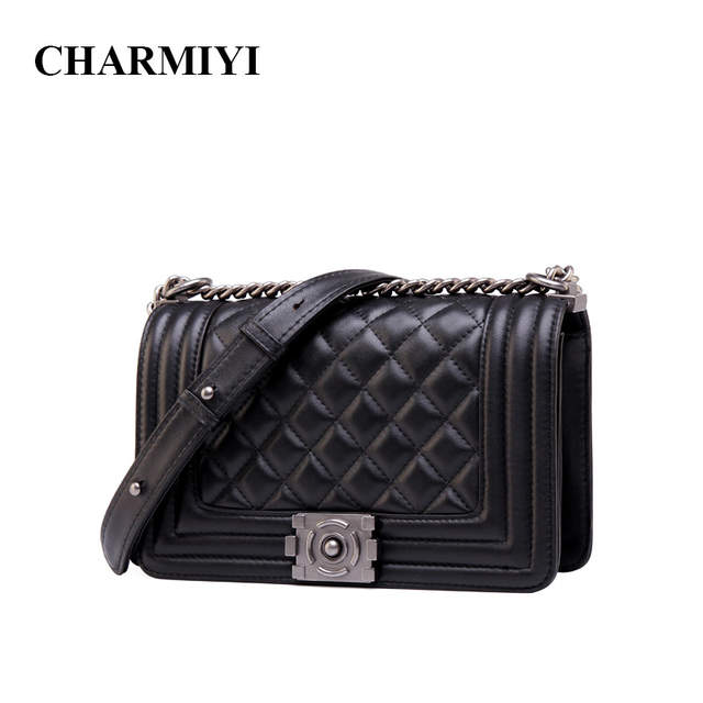 CHARMIYI luxury women Genuine Leather Messenger bags Famous Brand designer  crossbody bag Casual Fashion Chain women shoulder bag-in Shoulder Bags from  ... 04cee0ef5473
