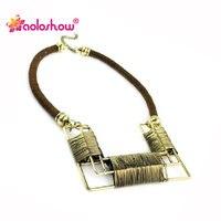 Vintage vàng màu tăng cực đại Oversized mặt dây choker necklace cho phụ nữ dây xung quanh handmade bọc tuyên bố vòng cổ NL-1580