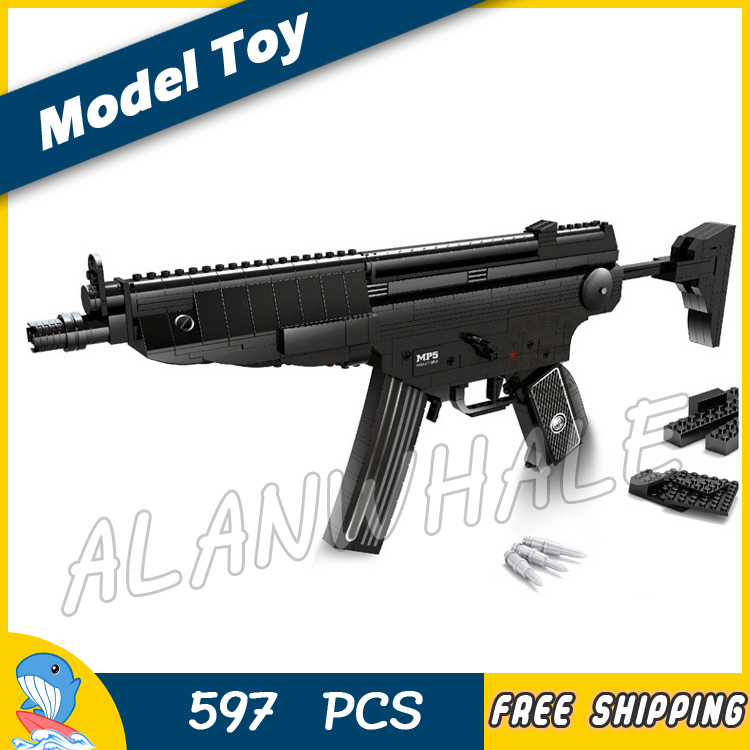 597pcs Model MP5 Toy Tommy Machine Gun Weapon For Military Assault Soldiers Building Kit Blocks Toys Brick Compitable with Lego 1 1 508pcs mp7 submachine assault gun weapon swat arms model 3d diy building blocks bricks kids toy gift compatiable with lego