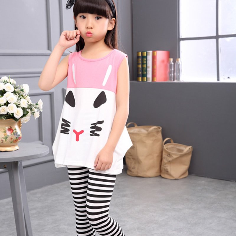 2017 New summer baby girl clothes casual short sleeve T-shirt+Pants suit Tracksuit the cat suit of the girls
