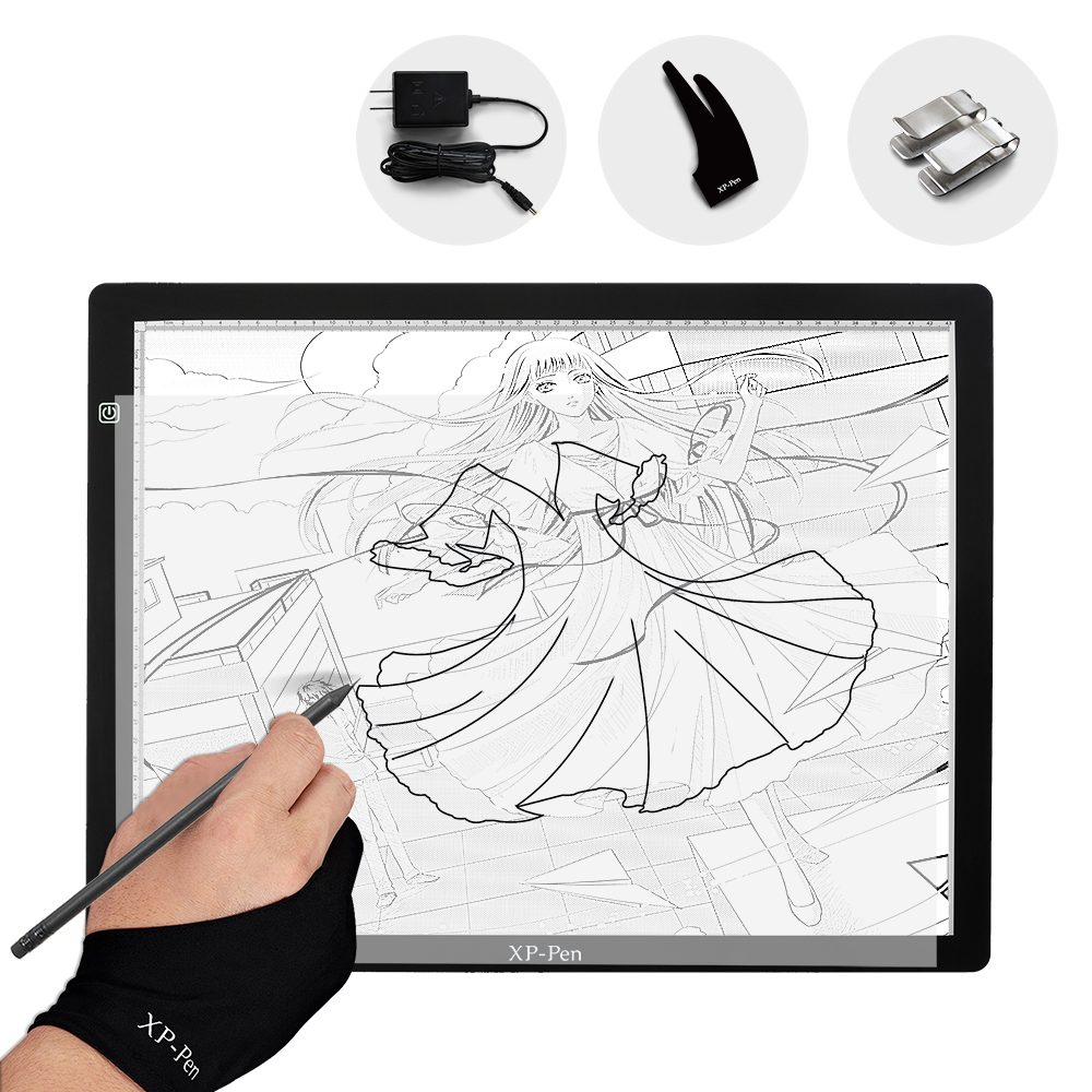 XP-Pen CP A3 24 Inch LED Tracing Light Table Light Box Dimmable Drawing Pad X-ray Pad with Paper Clips&Anti-fouling Glove