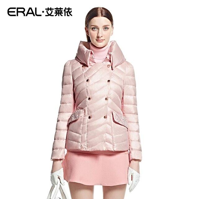 ERAL 2016 mujeres del Invierno Delgado Cuello alto Doble de Pecho Grueso Retro Lace Short Down Jacket Coat Plus Tamaño ERAL2020D