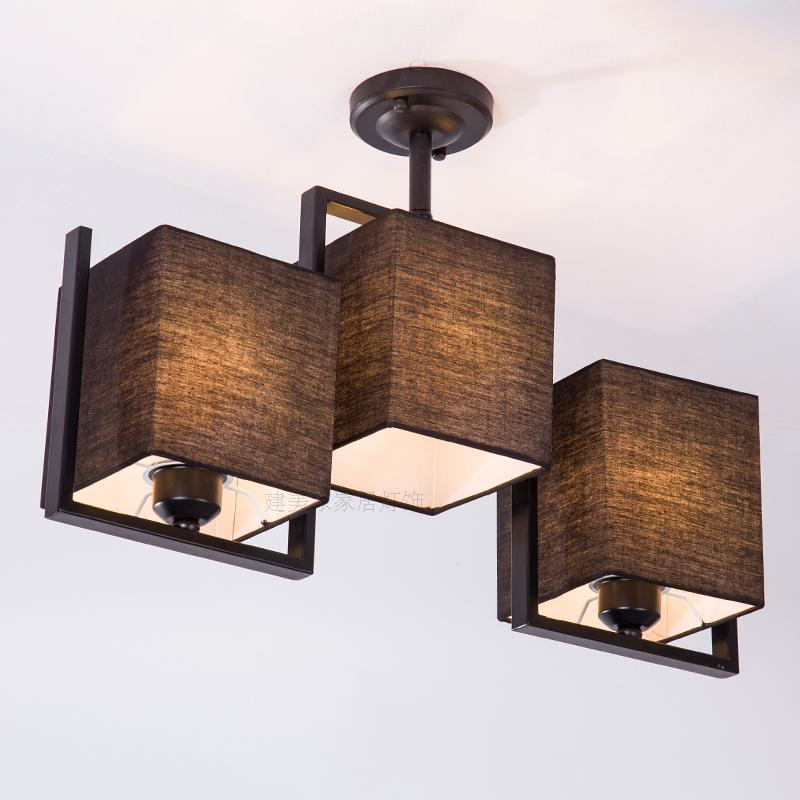 Simple modern 3 heads white black ceiling lamps living room bedroom iron cloth cover bar hotel decorative ligthing light ZA82417