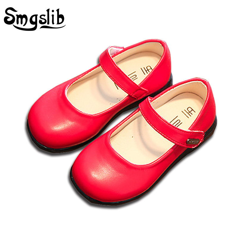 Smgslib Girls Shoes Princess Leather Kids Dance Party Shoes Little Girls  Flats Wedding White  Red  Black School Children Shoes