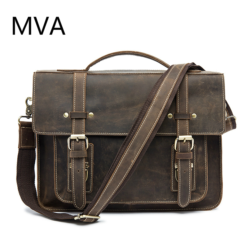 MVA Crazy Horse Genuine Leather Men Bag Leather Laptop Bag Messenger Bags Shoulder Crossbody Bags Men Briefcases Handbag 9019 ms crazy horse genuine leather men bag men s leather bag men messenger bags shoulder crossbody bags man handbag briefcase tw2011