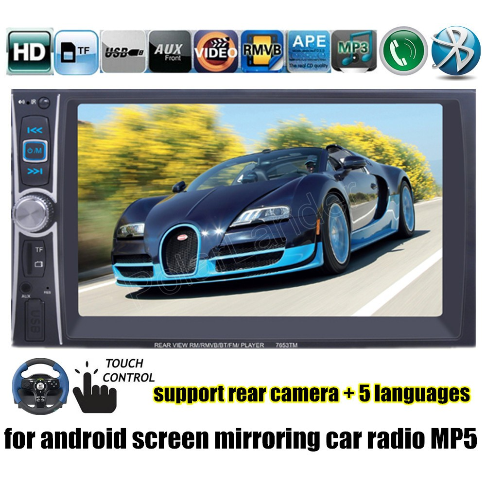 Image 4 - MP5 Player Bluetooth overseas warehouse  fast shipping  USB/AUX/SD 2 Din Mirror Link Touch Screen Car Radio 6 inchs-in Car Radios from Automobiles & Motorcycles