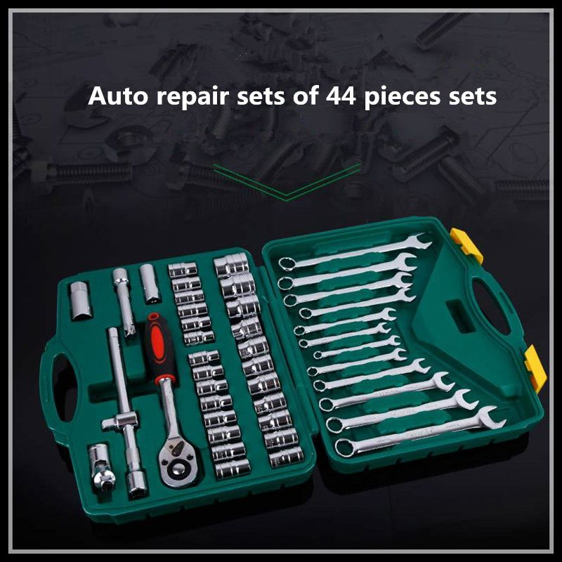 Metric tool set chrome vanadium steel ratchet wrench hardware tools screwdriver kit combination tool (44pcs) 46pcs socket set 1 4 drive ratchet wrench spanner multifunctional combination household tool kit car repair tools set