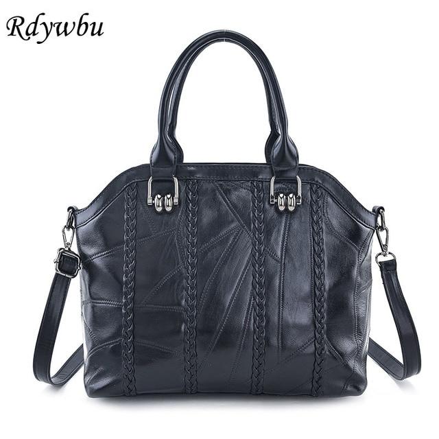Rdywbu Genuine Leather Braid Tote Handbags Women Designer Patchwork Sching Shoulder Bag Large Sheepskin Woven Travel