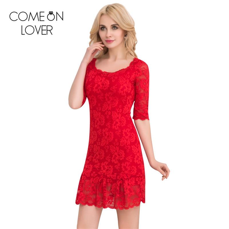 Comeonlover 2017 새로운 신축성 여성 레이스 드레스 - 여성 의류 - 사진 4