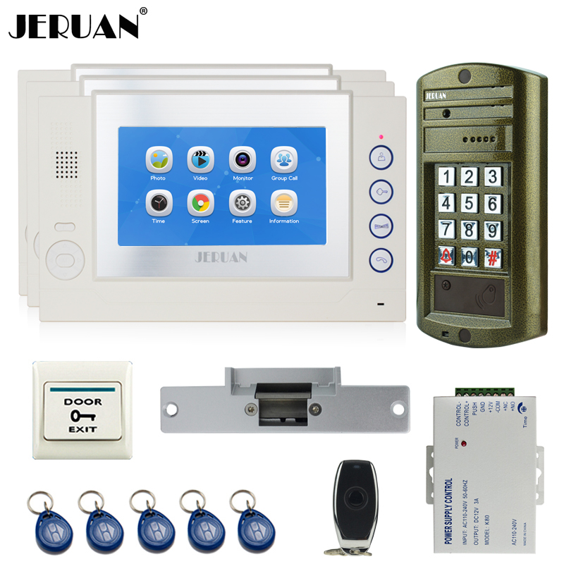 JERUAN Home 7`` Touch screen Video Door Phone Intercom System kit Metal waterproof password keypad HD Mini Camera 8GB Card 1V3