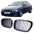 2x Glossy Black + M-color Kidney Grills Front Grille Lattice For BMW E39 5 Series M5 1997 - 2003 Car Styling Accessory #9216