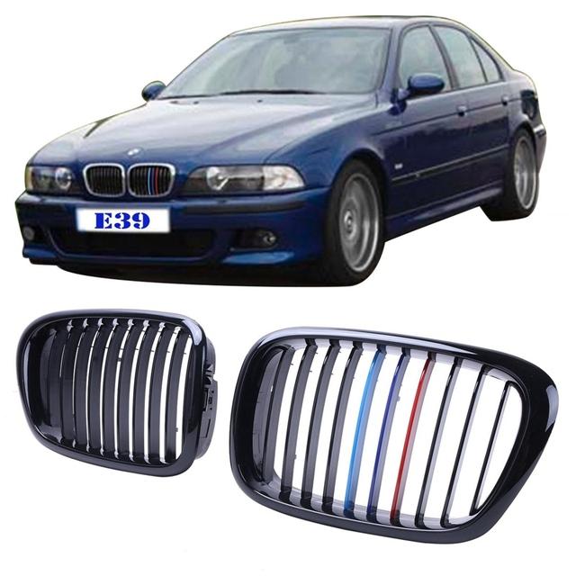 2x Preto Brilhante + M-cor Malha Grills Rim Grade Dianteira Para BMW E39 Série 5 M5 1997-2003 Car Styling Acessório #9216
