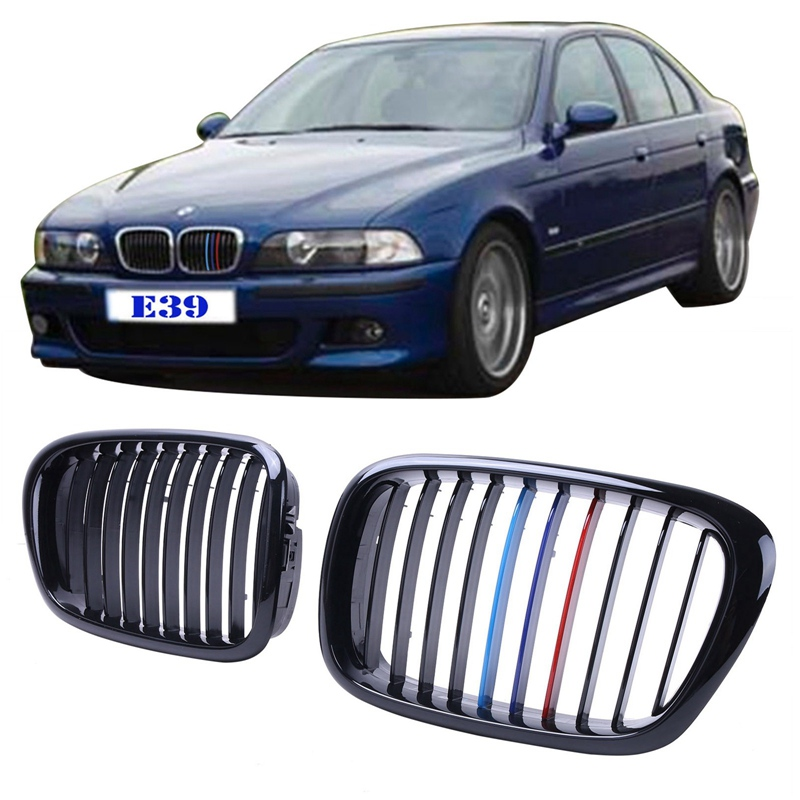 ФОТО Glossy Black M-color Grill For BMW E39 5-Series 525 530 540 528 M5 1997 - 2003 Front Grille Lattice Car Styling Accessory #9216