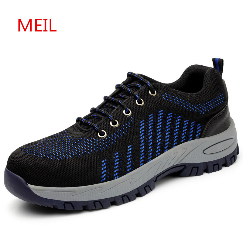 Men Summer Steel Toe Safety Shoes Breathable Lightweight Work Boots Anti-piercing Anti-slip Protection Footwear Casual Sneaker best work safety footwear waterproof anti slip overshoes for sea food shop sushi shop men s medical nurising hospital shoes