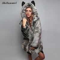 Искусственный мех жилет fourrure животного ухо Панда Черный Серый с fourrure Для женщин пальто Жилеты женские из искусственного меха- пальто-Куртки