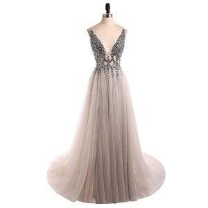 Image 3 - V צוואר נוצץ שמלות נשף 2020 ללא משענת ערב מסיבת שמלה אלגנטי סקסי לראות דרך גבוהה פיצול Vestido דה festa תמונה אמיתית