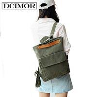 DCIMOR Solid Color Multifunctional Bag Canvas Backpack Women Mochila School Bag For Travel Backpacks School Backpack