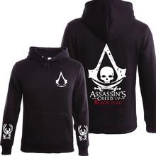 Autumn Winter Assasins font b Creed b font Hoodie Men Black Cosplay Sweatshirt Costume Fleece Lined