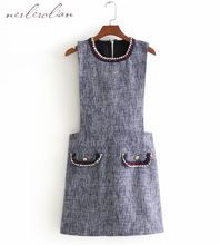Nerlerolian 2018 Women Gray Knitted Straped Dress Knee Length O-neck Sleeveless Pockets Female Bodycon Cute Girl's Vestidos BB
