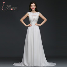 Simple Chiffon Lace Wedding Dresses 2017 Sexy Backless Long Boho Beach Wedding Gowns Cap Sleeves Bride Dress vestidos de novia(China)