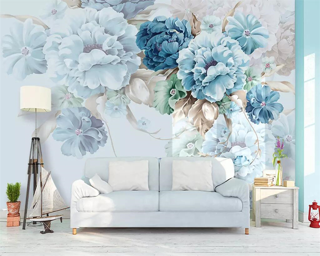 Beibehang Custom wallpaper Nordic fresh hand-painted peony flower garden living room TV background wall painting 3d wallpaper