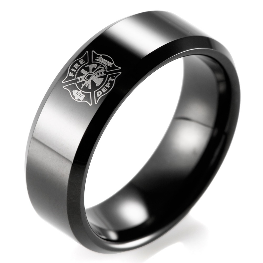 SHARDON Classic ring men 8mm IP Black Tungsten Carbide Firefighter Shield Design Outdoor Wedding Band men firefighter rings