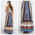 NEW Tribal Boho geometric Bohemian Print Long Maxi Skirt