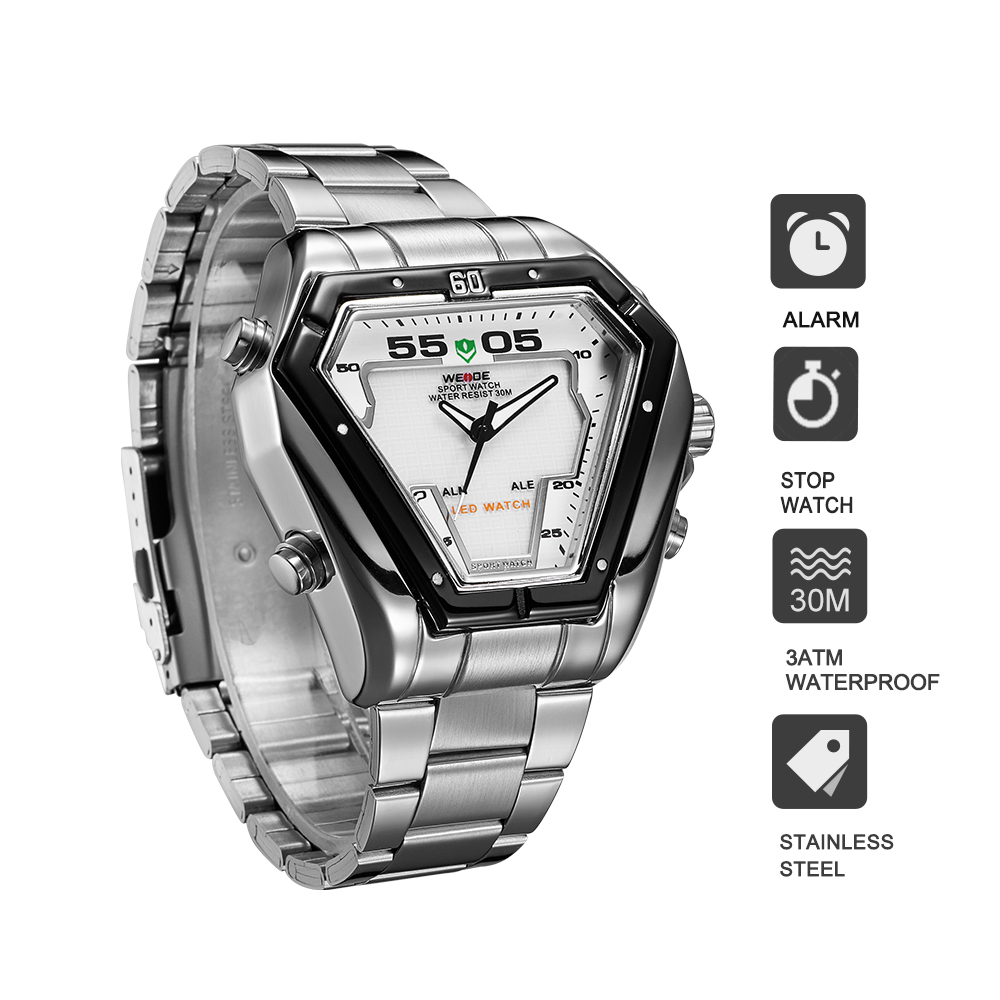 Weide  luxury brand sport model silver stainless steel strap date digital led display quartz business watch fashion casual clockWeide  luxury brand sport model silver stainless steel strap date digital led display quartz business watch fashion casual clock