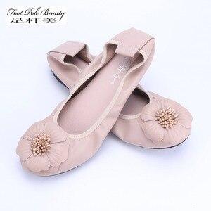 Image 1 - Bailarinas de piel auténtica para mujer, zapatos informales de punta redonda con adorno de flores, para primavera y otoño, 2021
